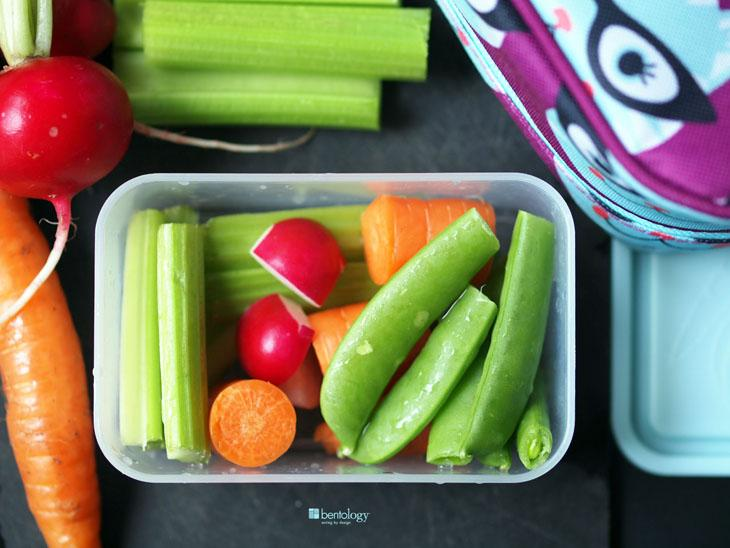 cut up veggies in container - what to pack for hiking